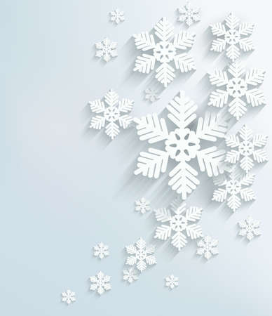 snow: Christmas postcard with snowflakes. Vector.