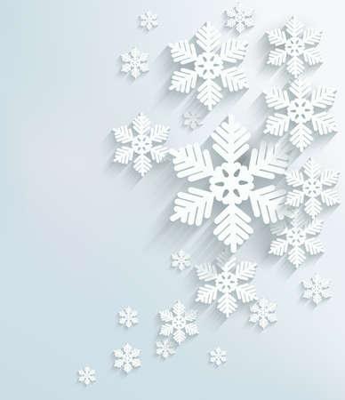estrellas de navidad: Postal de Navidad con copos de nieve. Vector.