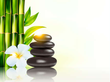 bamboo border: Spa background with bamboo and stones. Vector.