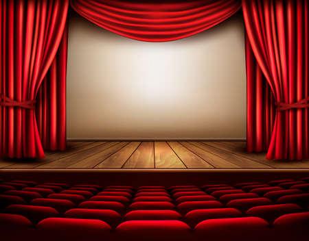 asiento: Cine o la escena de teatro con una cortina. Vector.