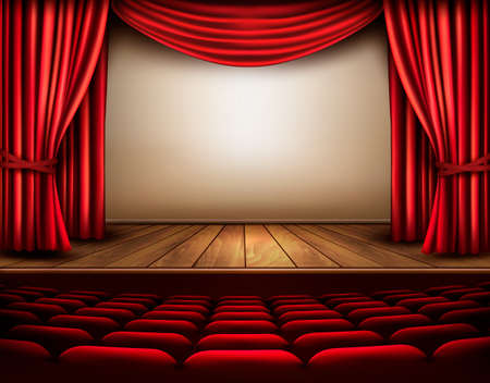 auditorium: Cinema or theater scene with a curtain. Vector.