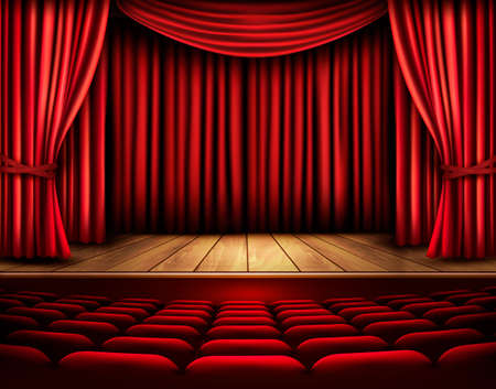 theater audience: Cinema or theater scene with a curtain. Vector.