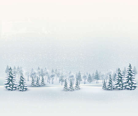 december holidays: Christmas winter landscape background. Vector.