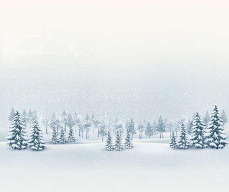 natale: Natale sfondo paesaggio invernale. Vector.