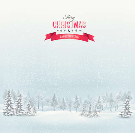 snow tree: Christmas winter landscape background. Vector.