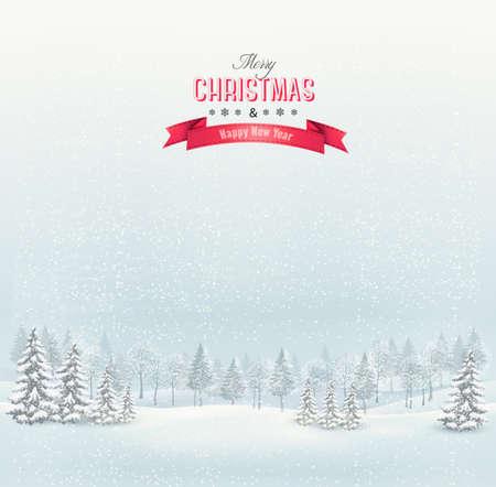 Vánoční zimní krajina pozadí. Vector. Ilustrace