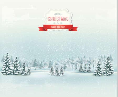 Navidad de fondo paisaje de invierno. Vector.