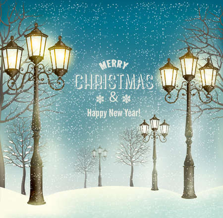 snow mountains: Christmas evening landscape with vintage lampposts. Vector.