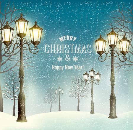 Kerst avond landschap met vintage lantaarnpalen. Vector. Stock Illustratie