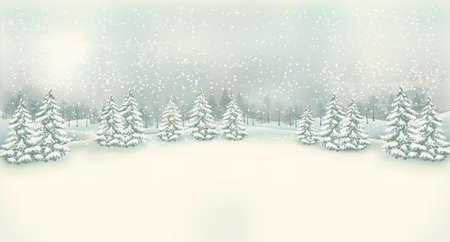 feriado: Fondo de la vendimia del paisaje del invierno de Navidad. Vector.