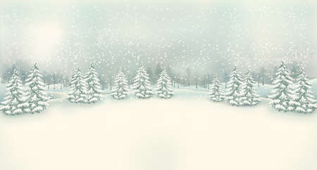 winter tree: Vintage Christmas winter landscape background. Vector.