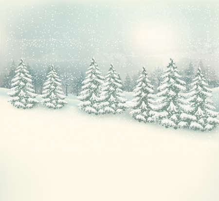Retro Christmas winter landscape background. Vector. Ilustração