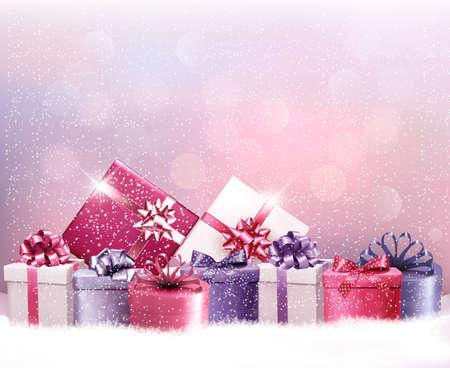 プレゼントとクリスマス休暇の背景。ベクトル。  イラスト・ベクター素材