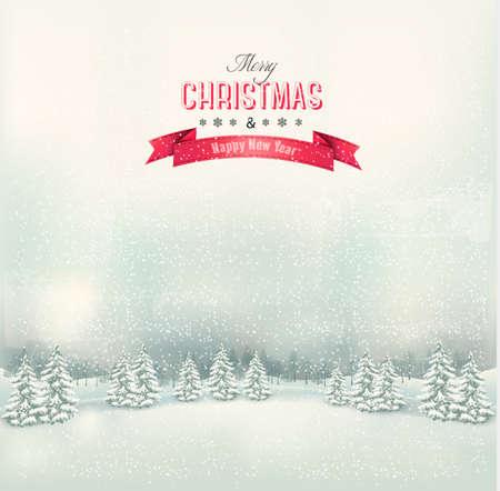arbre paysage: Vintage Christmas paysage hivernal fond. Vector.