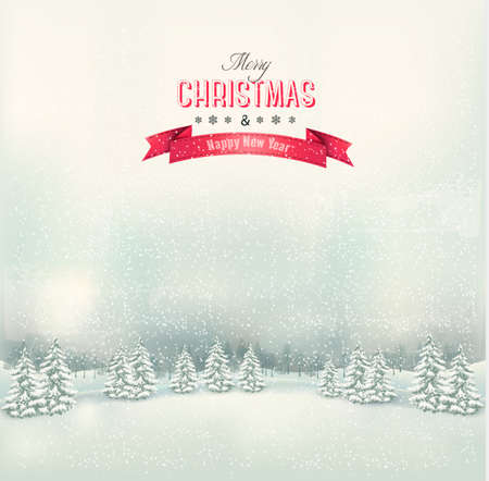 snowy landscape: Vintage Christmas winter landscape background. Vector.