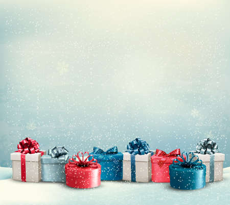 christmas parties: Holiday Christmas background with a border of gift boxes. Vector.
