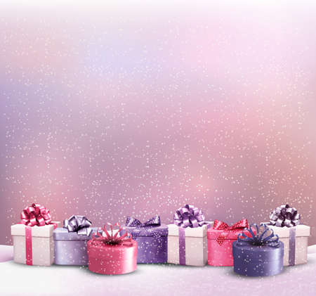 Holiday Christmas background with a border of gift boxes. Vector.