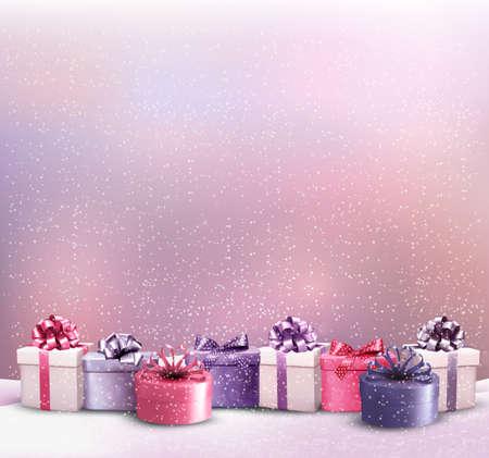 Dovolená Vánoční pozadí s hranicí dárkové krabičky. Vector. Ilustrace