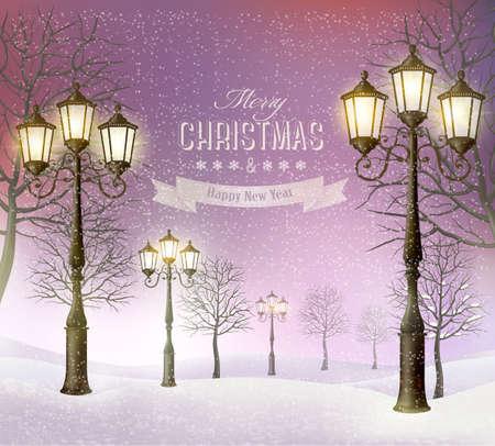 Weihnachten Abend Winterlandschaft mit Vintage Laternenmasten. Vector. Standard-Bild - 33333309