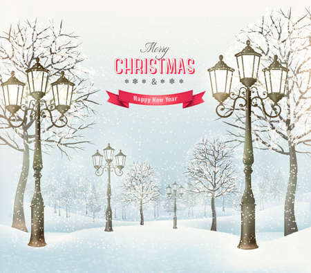 Christmas evening winter landscape with vintage lampposts. Vector.