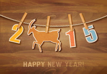 2015 with a goat on wooden background. Vector. Vector