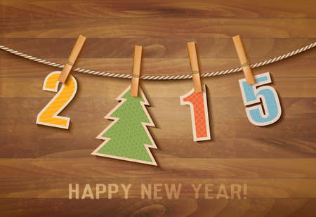 2015 with a christmas tree on wooden background. Vector. Vector