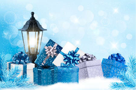 Christmas background with a lantern and presents. Vector.