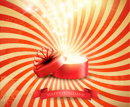magic box: Retro Christmas holiday background with open gift box and magic light firework. Vector.