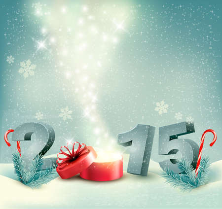 new year's eve: Holiday background with a gift box and 2015. Vector. Illustration