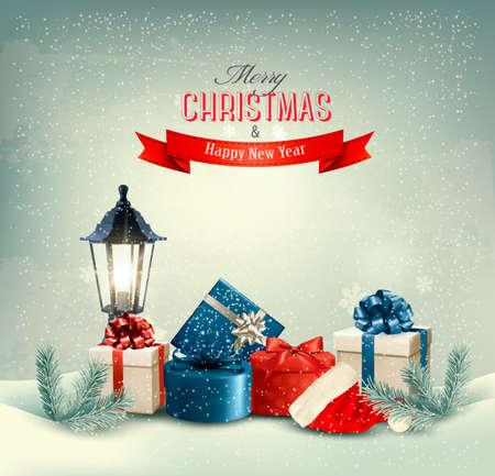 Kerst achtergrond met een lantaarn en cadeautjes. Vector. Stock Illustratie