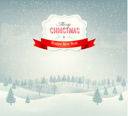 snowflake background: Christmas winter landscape background. Vector.