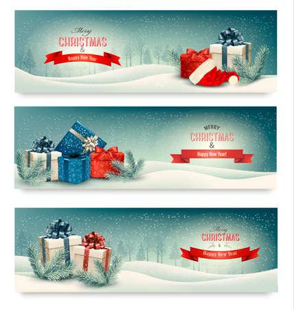 pancarta: Tres banderas de la Navidad con los presentes. Vector.