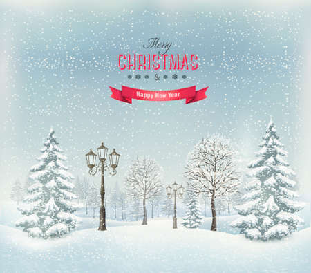 Christmas winter landscape with lampposts. Vector. Vector