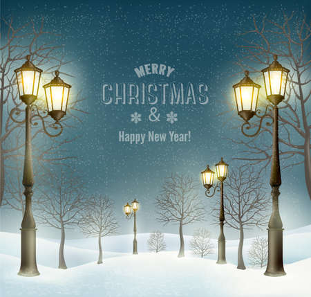christmas vintage: Christmas evening winter landscape with lampposts. Vector Illustration