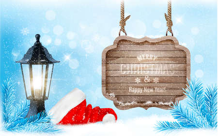 Winter christmas with a sign, lantern and a santa hat background. Vector. Vector