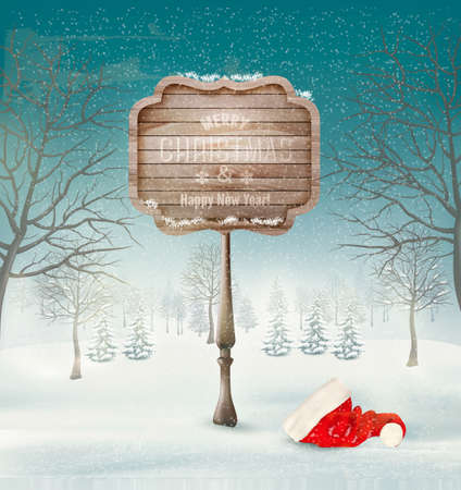 snow mountains: Winter christmas landscape with a wooden ornate sign and a santa hat background. Vector.