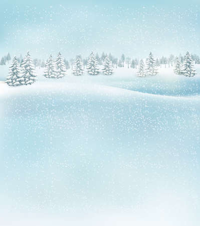 Winter christmas landscape background. Vector. Ilustração