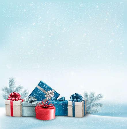 Feiertags-Weihnachtshintergrund mit einer Grenze von Geschenk-Boxen. Vector.