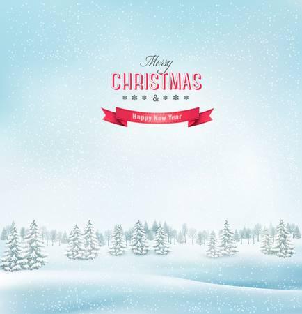 winter scene: Winter christmas landscape background. Vector. Illustration