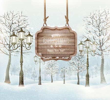 flores retro: Paisaje de invierno con farolas y una ornamentada signo Feliz Navidad de madera. Vector.