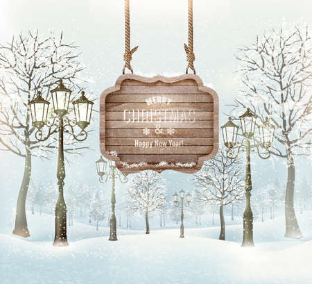 Winter landscape with lampposts and a wooden ornate Merry christmas sign. Vector.