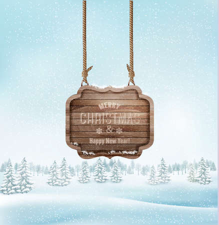 wood sign: Winter landscape with a wooden ornate Merry christmas sign. Vector.