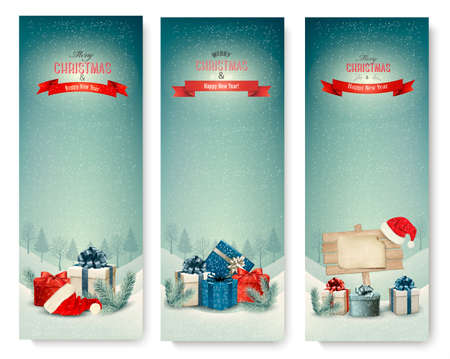 anniversary backgrounds: Three Christmas banners with presents. Vector. Illustration