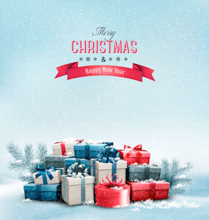 christmas gifts: Holiday Christmas background with gift boxes.