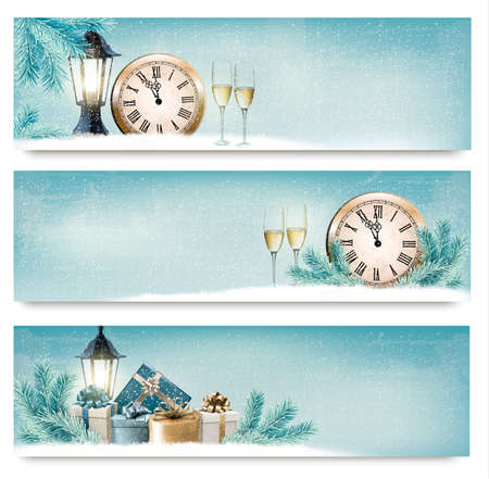 Three Christmas, New Year banners with gift boxes, lanterns and champagne.  Ilustração