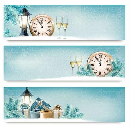 feliz: Tres de Navidad, Año Nuevo banners con cajas de regalo, linternas y champán.