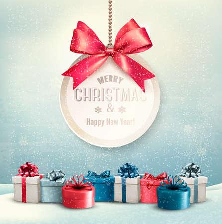 gift in celebration of a birth: Tarjeta de Navidad feliz con una cinta y cajas de regalo. Vectores