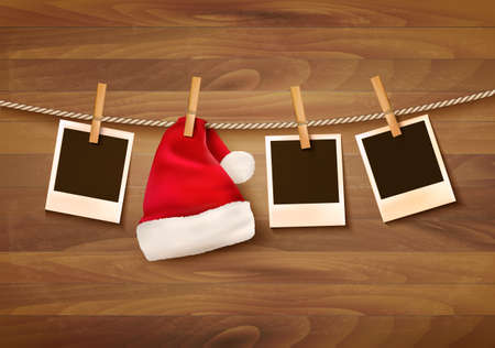 hat santa: Background with photos and a santa hat.