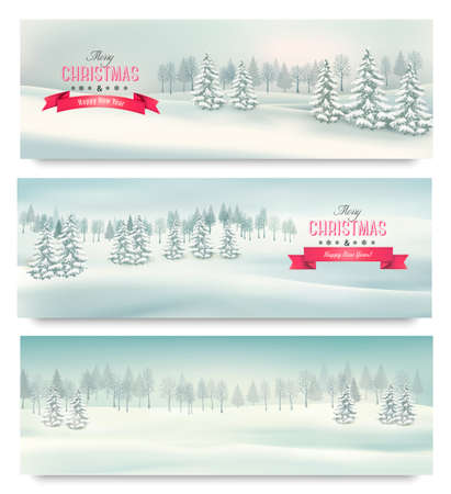 desember: Three christmas landscape banners. Illustration