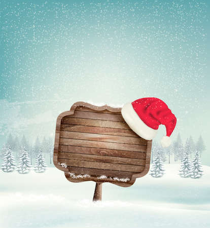 santa hat: Winter christmas landscape with a wooden ornate sign and a santa hat background. Vector.